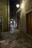 The streets of night Kotor. Streets and buildings of Kotor town in Montenegro at night Royalty Free Stock Photography