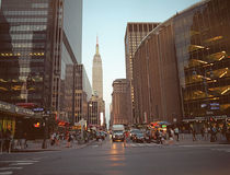 Streets of NYC. New York, USA - June 23, 2014: Streets of Manhattan. West 33rd Street, Manhattan, New York City, US Royalty Free Stock Images