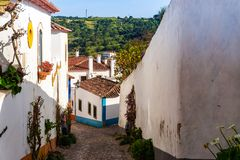Streets of Obidos. Portugal. Tourist destination in Portugal royalty free stock photos