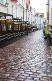 Streets of the Old City in the rain. Tallinn, Estonia. Stock Photography