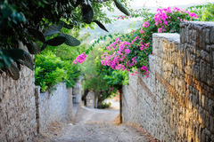 Streets of Old Datca. A street view from old Datca Turkey Stock Photo