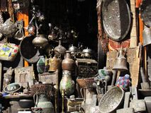 Angles in the Streets of the ld Medina in Marrakech in Morocco royalty free stock photo