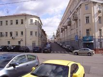 The streets of old Moscow. Low-rise buildings, an area of irregular shape, houses with sharp angles. stock image