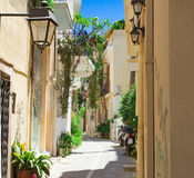 Streets in the old part of the city Retno, Crete, Greece. Royalty Free Stock Images