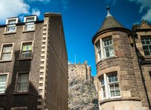 Streets of old part of Edinburgh, Scotland stock photography