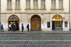 The streets of old Prague. Food market. Stock Photography