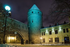 Streets of Old Tallinn decorated to Christmas Royalty Free Stock Photos
