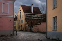 The streets of old Tallinn. Walking along the old streets of the old Estonian city of Tallinn. The beauty of old Estonia stock photography