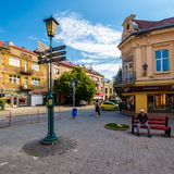 Streets of the old tow on summer morning. Uzhgorod, Ukraine - Jun 11, 2017: streets of the old tow on summer morning. everyday life in the central part of Royalty Free Stock Photo