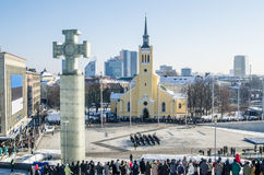 TALLINN, ESTONIA - FEBRUARY 24, 2013: Celebrating of Day of Independence and the Defence Forces parade  Royalty Free Stock Photography