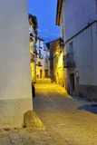 Streets of the old town Ares in Spain.  Evening time. Royalty Free Stock Photo