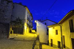 Streets of the old town Ares in Spain.  Evening time. Royalty Free Stock Photos