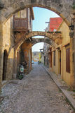 The streets of old town of Rhodes Stock Photography