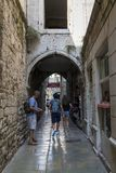 The streets of the old town Split. SPLIT, CROATIA - SEPTEMBER 11, 2016: This archway one of the streets of the old town, which is located on the territory of the Royalty Free Stock Photos