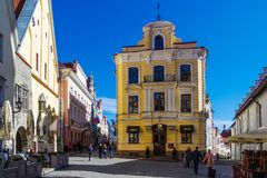 Streets And Old Town in Tallinn, Estonia stock image