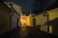 Streets of the old town of Tallinn. Estonia. royalty free stock image