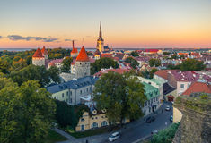 The streets of the old town of Tallinn at sunset Stock Photography