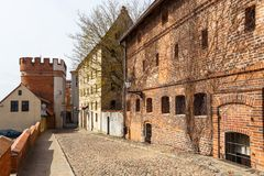 Streets of old town in Torun, Poland. Torun, Poland - 05 April, 2014: Streets of old town in Torun. The medieval old town is a UNESCO World Heritage Site Royalty Free Stock Photography