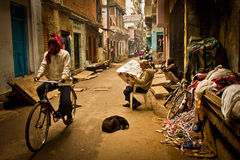 The Streets of Old Town Varanasi, Varanasi, India. The Streets of Old Town Varanasi with its people, Varanasi, India Royalty Free Stock Photos