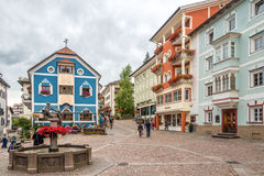 In the streets of Ortisei in Dolomites of Italy Stock Photos