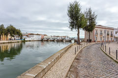 Streets over the river in town of Tavira. Royalty Free Stock Photography
