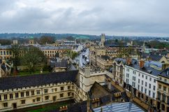 All Souls College, Oxfordshire, United Kingdom, Europe. Streets of Oxford - landmark, England - overview from a church`s tower with the Bodleian Libraryand All royalty free stock image
