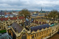 All Souls College, Oxfordshire, United Kingdom, Europe. Streets of Oxford - landmark, England - overview from a church`s tower with the Bodleian Libraryand All royalty free stock images