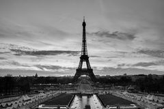 Streets of Paris in black and white. Eiffel Tower. Paris stock photo