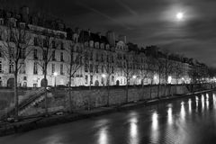 Streets of Paris in black and white. Eiffel Tower. Paris royalty free stock photography