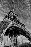 Streets of Paris in black and white. Eiffel Tower. Paris royalty free stock photo