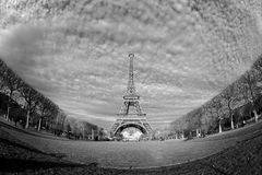 Streets of Paris in black and white. Eiffel Tower. Paris stock image