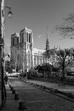 Streets of Paris in black and white. Eiffel Tower Stock Photos