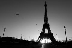 Streets of Paris in black and white. Eiffel Tower Stock Images