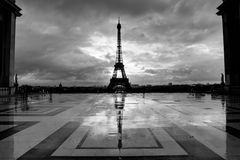 Streets of Paris in black and white. Eiffel Tower. France royalty free stock photo