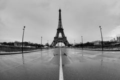 Streets of Paris in black and white. Eiffel Tower Royalty Free Stock Photography