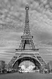 Streets of Paris in black and white. Eiffel Tower Royalty Free Stock Photos