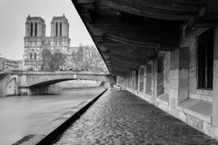 Streets of Paris in black and white. Eiffel Tower Stock Photography
