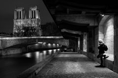 Streets of Paris in black and white. Eiffel Tower. France stock image