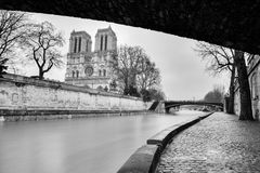 Streets of Paris in black and white. Eiffel Tower. France stock images