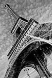 Streets of Paris in black and white. Eiffel Tower. France royalty free stock photos