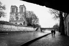 Streets of Paris in black and white. Notre Dame. France stock images