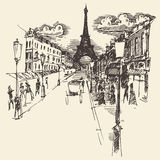 Streets Paris France Vintage Engraved Hand Drawn Royalty Free Stock Photos