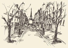 Streets Paris France Vintage Engraved Hand Drawn. Streets in Paris France vintage engraved illustration hand drawn Royalty Free Stock Images