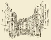 Streets in Paris, France, vintage engraved illustration, hand drawn Royalty Free Stock Photo