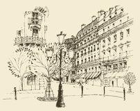 Streets in Paris, France, vintage engraved illustration, hand drawn Stock Image