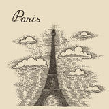 Streets in Paris France vintage engraved vector Royalty Free Stock Image
