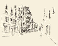 Streets in Paris, France, Vintage Hand Drawn Stock Image