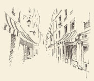 Streets in Paris, France, Vintage Hand Drawn Stock Images
