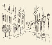 Streets in Paris, France, Vintage Hand Drawn Royalty Free Stock Photo