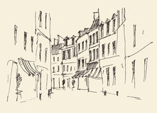 Streets in Paris, France, Vintage Hand Drawn Stock Photos